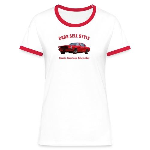 Womens ringer t-shirt | 65 Red Mustang | Classic American Automotive - Women's Ringer T-Shirt