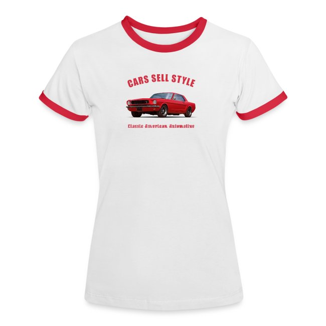 Womens ringer t-shirt   65 Red Mustang   Classic American Automotive