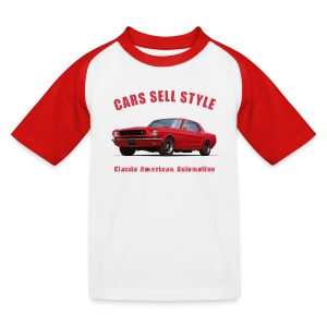 Kids baseball t-shirt | 65 Red Mustang | Classic American Automotive - Kids' Baseball T-Shirt