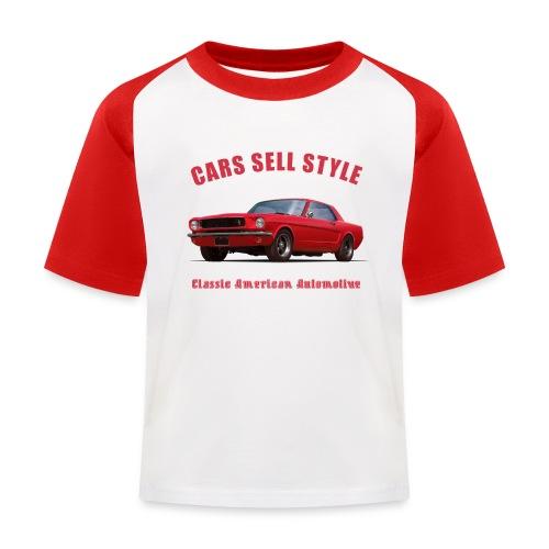 Kids baseball t-shirt | 65 Red Mustang | Classic American Automotive - Kids' Baseball T-Shirt