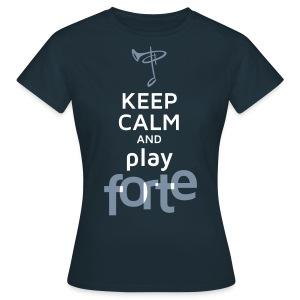 Günstiges T-Shirt Damen, Folien-Text silber/weiß - Frauen T-Shirt