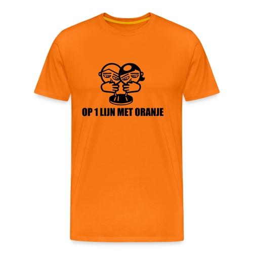 Op 1 lijn met Oranje Koningsdag T-shirt - Mannen Premium T-shirt