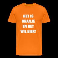 T-shirts ~ Mannen Premium T-shirt ~ Raadsel T-shirt Het is oranje en het wil bier?