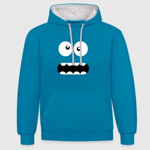 Funny Cartoon Monster Face - Crazy / Smiley Bluzy - Bluza z kapturem z kontrastowymi elementami