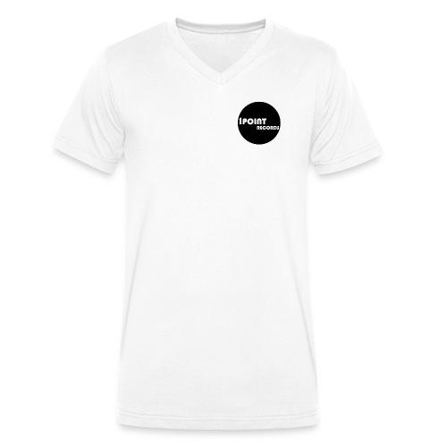 White V Neck Shirt with 1PR Logo Small - Men's Organic V-Neck T-Shirt by Stanley & Stella