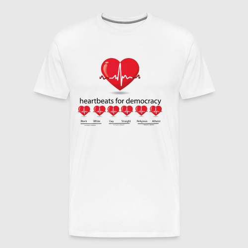 Mens tshirt with heartbeat for democracy - Herre premium T-shirt