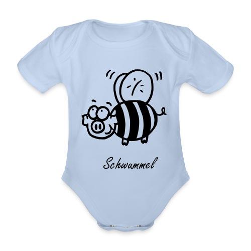 Schwummel Schwarz mit Name - Baby Bio-Kurzarm-Body