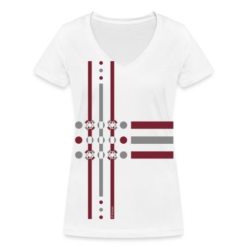 Dots Marsala - Woman V T-shirt - T-shirt ecologica da donna con scollo a V di Stanley & Stella