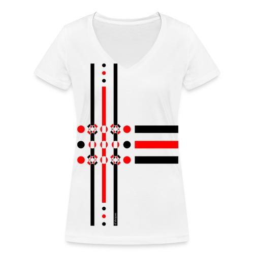Dots Red - Woman V T-shirt - T-shirt ecologica da donna con scollo a V di Stanley & Stella