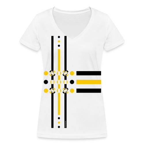 Dots Yellow - Woman V T-shirt - T-shirt ecologica da donna con scollo a V di Stanley & Stella