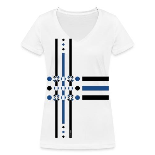 Dots Blue - Woman V T-shirt - T-shirt ecologica da donna con scollo a V di Stanley & Stella