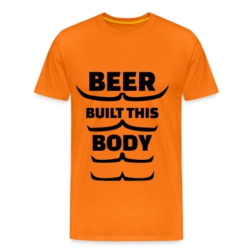 Oranje sixpack Bier - Mannen Premium T-shirt
