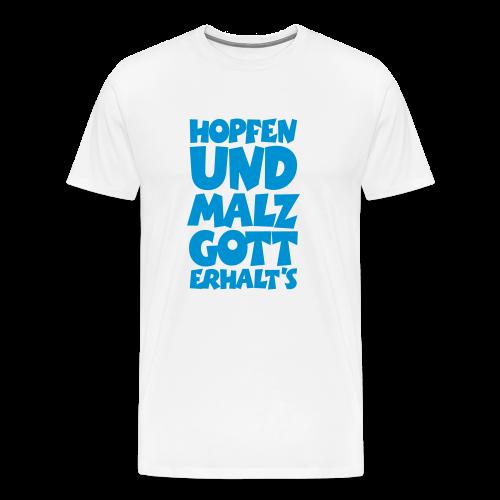 Biertinker T-Shirt. Hopfen und Malz, Gott erhalts! (Weiß/Blau) - Männer Premium T-Shirt