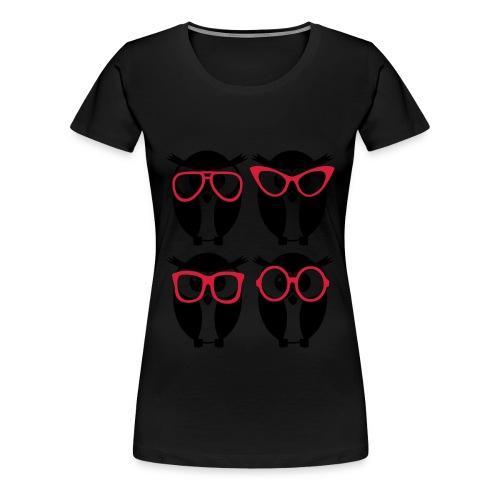 Damen T-Shirt Motiv 4 Eulen - Frauen Premium T-Shirt