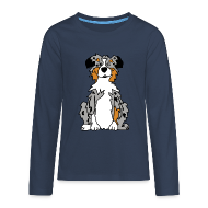 Langarmshirts ~ Teenager Premium Langarmshirt ~ Blue Merle Australian Shepherd