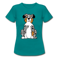 T-Shirts ~ Frauen T-Shirt ~ Blue Merle Australian Shepherd
