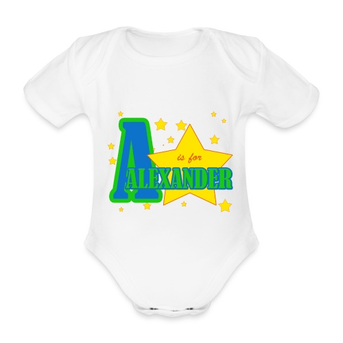 A is for Alexander - Organic Short-sleeved Baby Bodysuit