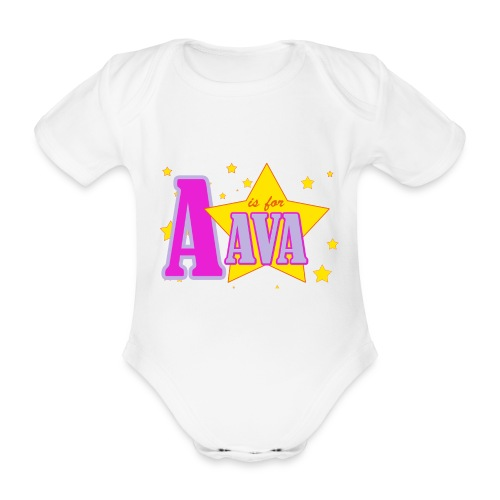 A is for Ava - Organic Short-sleeved Baby Bodysuit