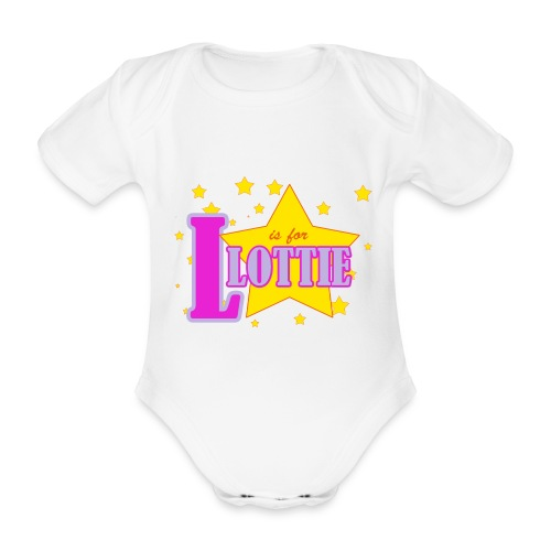 L is for Lottie - Organic Short-sleeved Baby Bodysuit