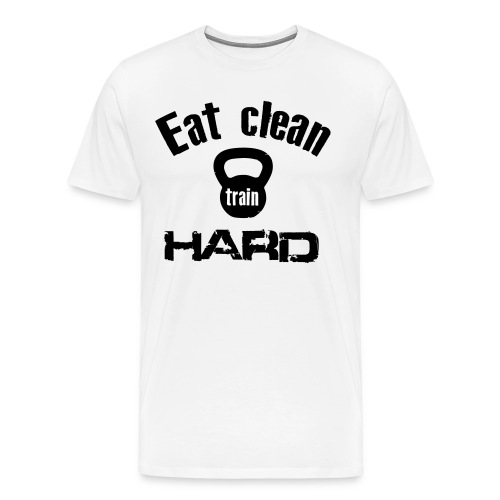 Classic T-Shirt - Eat Clean Train Hard Kettlebell - Black - Men's Premium T-Shirt