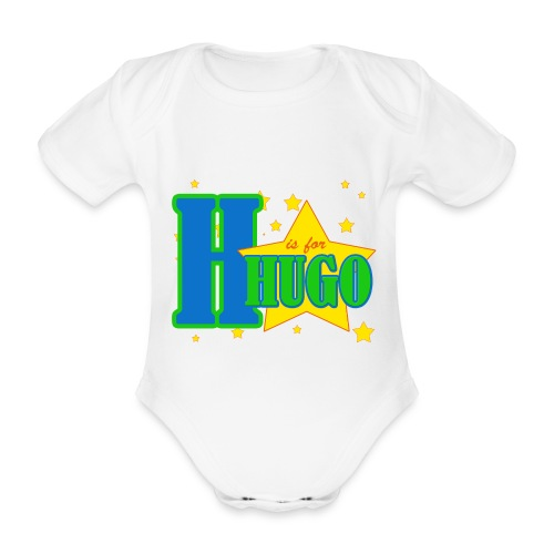 H is for Hugo named t-shirt - Organic Short-sleeved Baby Bodysuit
