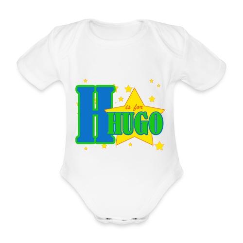H is for Hugo named t-shirt - Organic Short-sleeved Baby Bodysuit