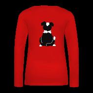 Langarmshirts ~ Frauen Premium Langarmshirt ~ Black Tri Australian Shepherd Motiv auf der Rückseite
