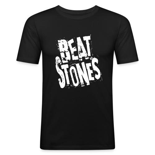 BEATSTONES Logo weiß - Männer Slim Fit T-Shirt
