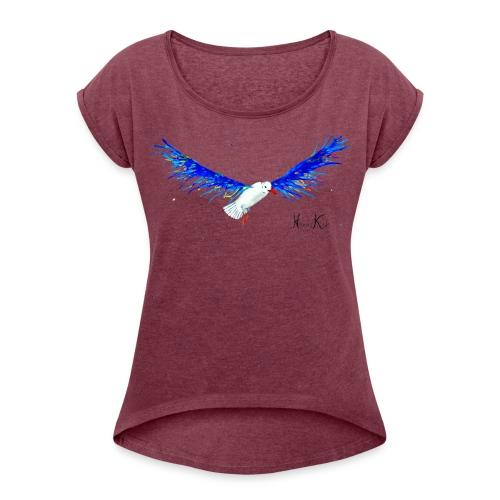 women's shirt seagull - Frauen T-Shirt mit gerollten Ärmeln