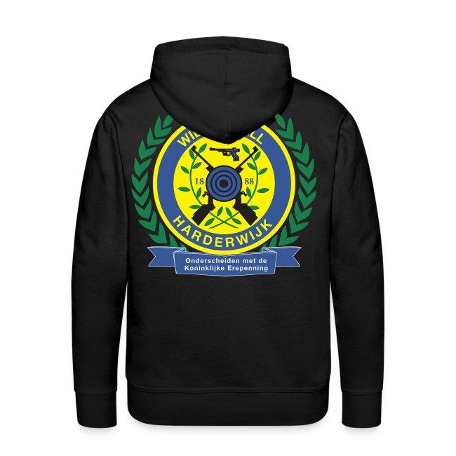Mannensweater met logo groot achterop en eigen naam voorop
