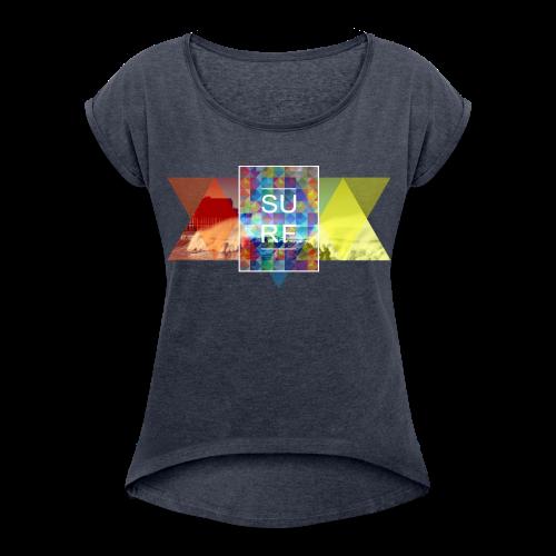 surf hipster - Frauen T-Shirt mit gerollten Ärmeln