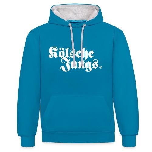 Kölsche Jungs Hoodie classic  blau - Kontrast-Hoodie