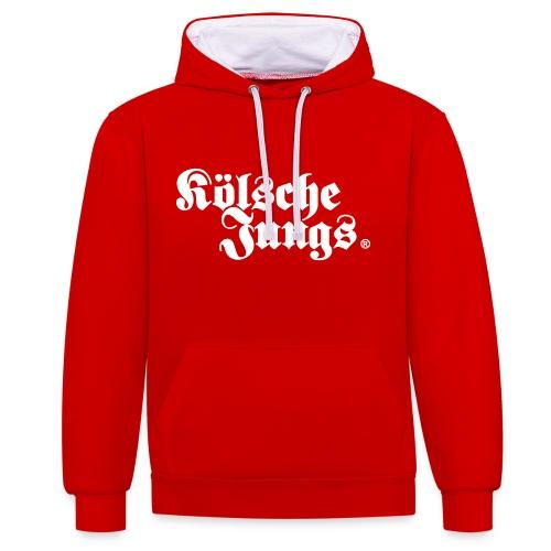 Kölsche Jungs Hoodie classic rot - Kontrast-Hoodie