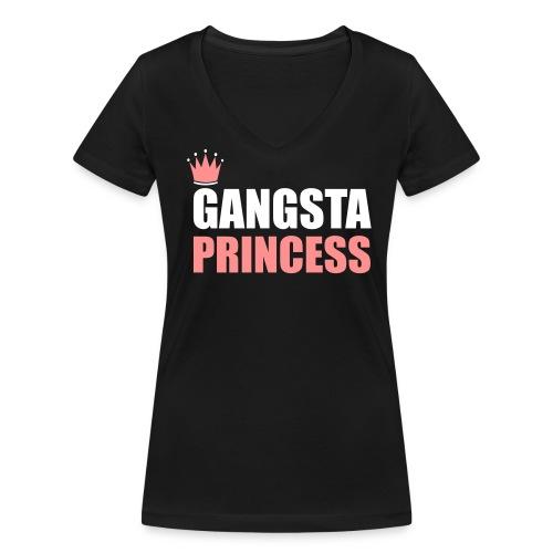 Gangsta princess woman top - Women's Organic V-Neck T-Shirt by Stanley & Stella