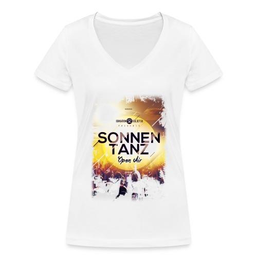 Frauen Sonnentanz Open Air V-Neck Shirt, weiß - Frauen Bio-T-Shirt mit V-Ausschnitt von Stanley & Stella