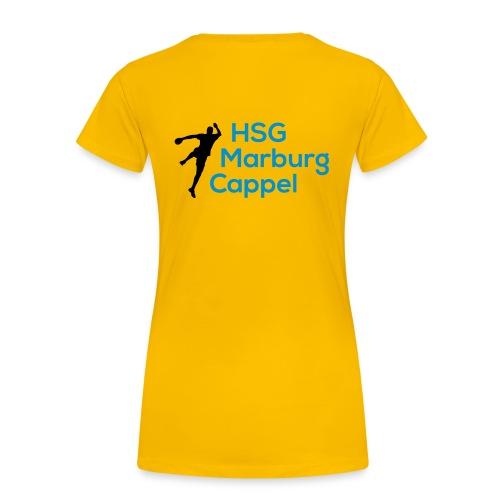 Ladyshirt gelb, HSG-Logo hinten - Frauen Premium T-Shirt