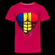 Tee shirts ~ T-shirt Premium Ado ~ Torse musclé drapeau pays Roumanie