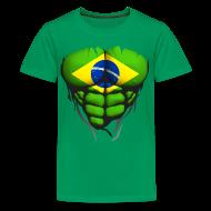 Tee shirts ~ T-shirt Premium Ado ~ Torse musclé drapeau pays Brésil