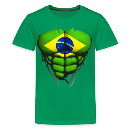 Torse musclé drapeau pays Brésil - T-shirt Premium Ado