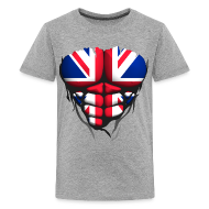 Tee shirts ~ T-shirt Premium Ado ~ Torse musclé drapeau pays Angleterre