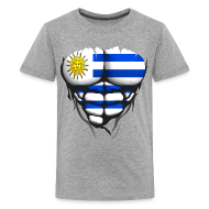 Tee shirts ~ T-shirt Premium Ado ~ Torse musclé drapeau pays Uruguay