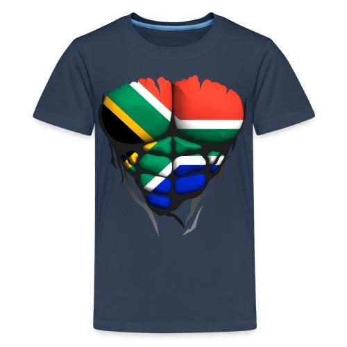 Torse musclé drapeau pays Afrique du Sud - T-shirt Premium Ado