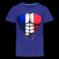 Tee shirts ~ T-shirt Premium Ado ~ Torse musclé drapeau pays France