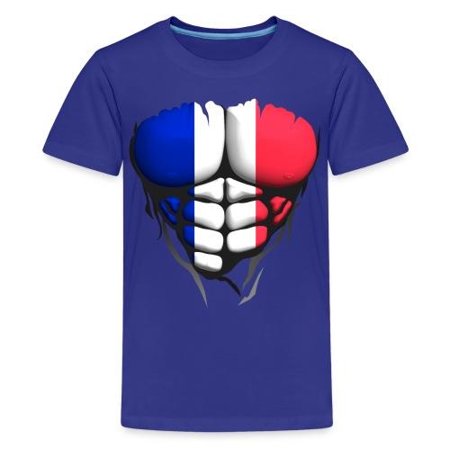 Torse musclé drapeau pays France - T-shirt Premium Ado