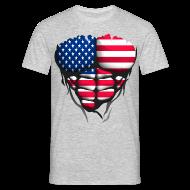 Tee shirts ~ Tee shirt Homme ~ Torse musclé drapeau pays USA etat unis