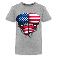Tee shirts ~ T-shirt Premium Ado ~ Torse musclé drapeau pays France USA