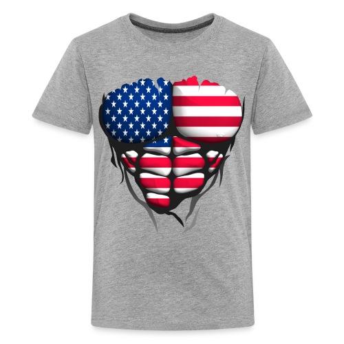 Torse musclé drapeau pays France USA - T-shirt Premium Ado