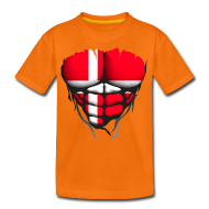 Tee shirts ~ T-shirt Premium Ado ~ Torse musclé drapeau pays Danemark