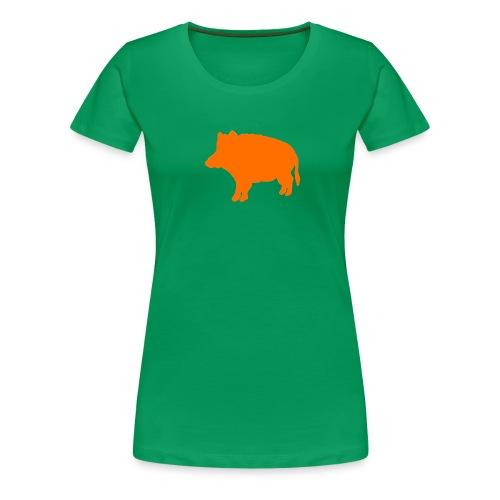 Jägerin-T-Shirt Wildschwein orange - Frauen Premium T-Shirt