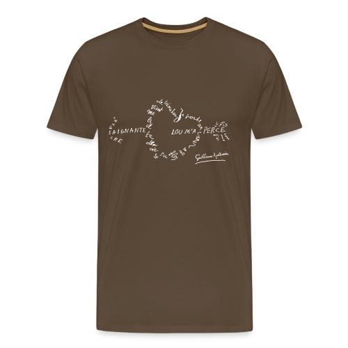 T-shirt Homme - Calligramme Flèche saignante (blanc) - T-shirt Premium Homme